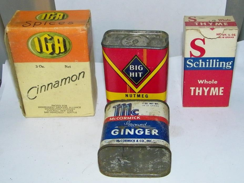 4-vintage spice tins-Mccormick,schilling,big hit IGA cimmqanon advertising