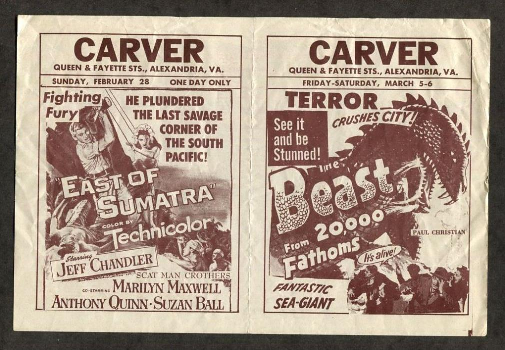 1953 Vintage Movie Pamphlet - The Beast from 20,000 Fathoms Monster Horror Film
