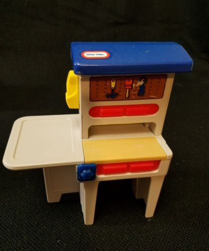Vintage Little Tikes Dollhouse Workbench Tool Furniture Miniature