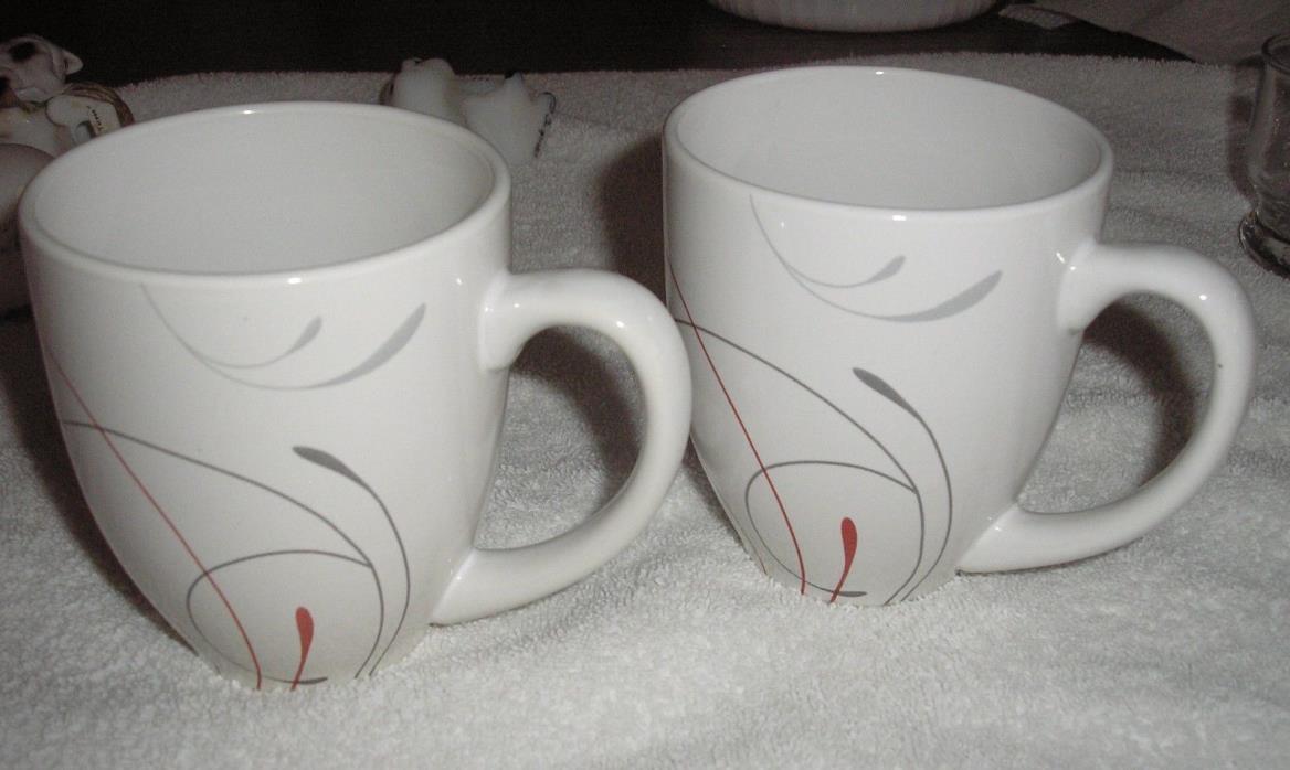 LOT OF 2 COFFEE MUGS  CORELLE COORDINATES SPLENDOR RED GRAY SCROLLS