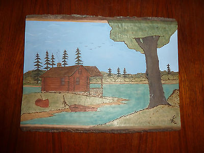 Hand Carved Tree Trunk Cabin Lake Canoe Sky Wood Plaque signed WE?  WEE? '04