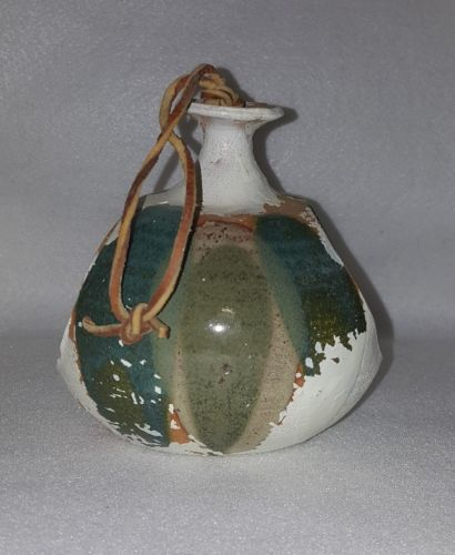 Pottery Hanging Bird Feeder 2 Open Sides Handmade Clay Glaze 6