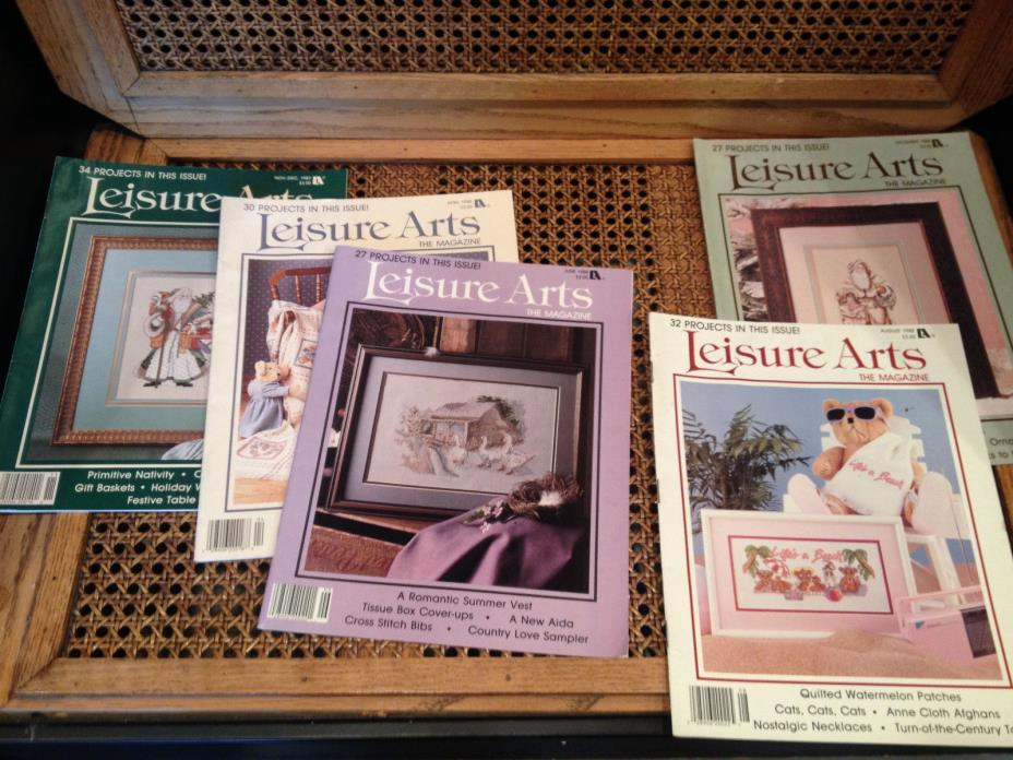 Lot of 5 Vintage 'Leisure Arts' Magazines 1987 & 1988 Cross Stitch Patterns