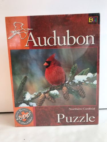 Audubon Northern Cardinal Puzzle Pine Tree Cone Snow New Collectible Buffalo