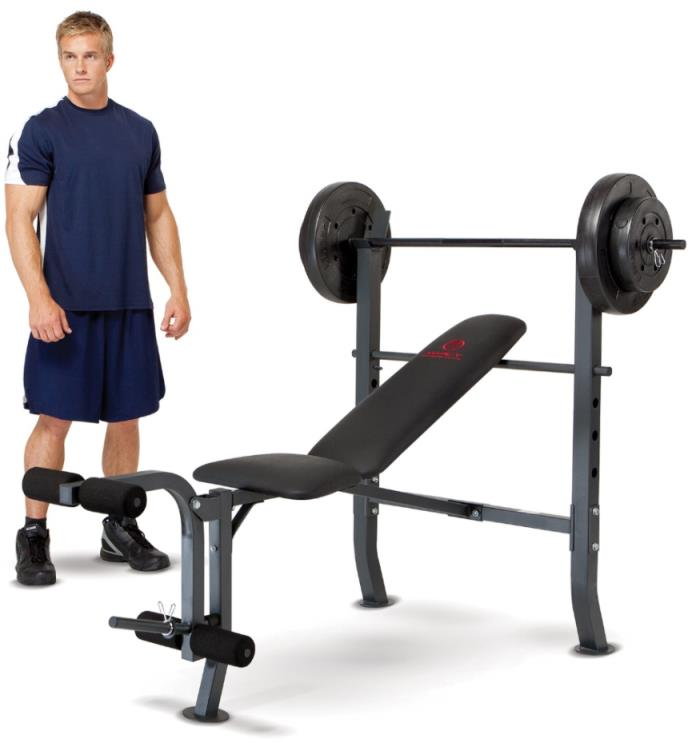 Bench Press With Weights Fitness Equipment Training Workout 80lbs Leg Extension