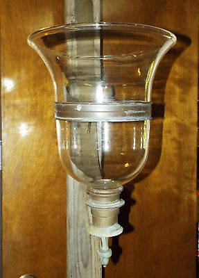 Lamp Hurricane glass candle, large brass fixture glass bell jar sconce Antique