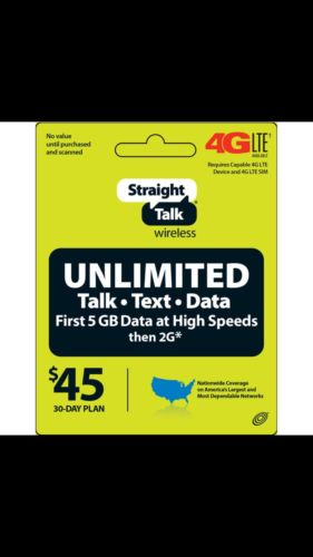 Straight Talk Rob Refill Card 30 Day $45 Prepaid Unlimited Top Up FAST/Email