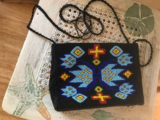 Vintage Gammon Shire American Indian Design Fully Beaded Bag 1992