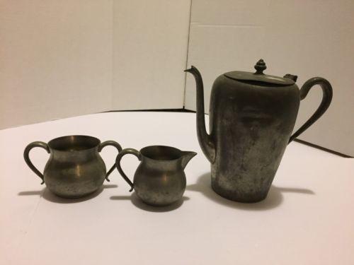 Vintage Pewter Teapot, Creamer, And Sugar Bowl
