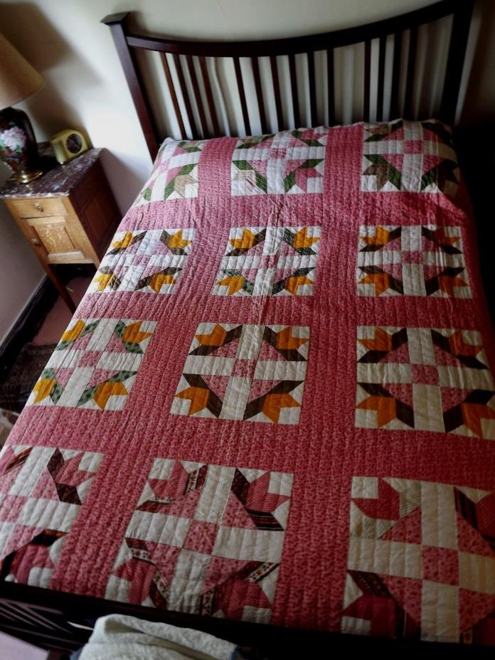Antique Quilt 1850 Civil War Era Reproduction Vintage Hand Quilted Cinamon Pink