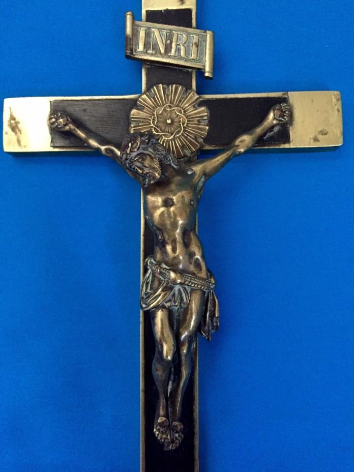 FA-0223-Antique Exceptional Large cross Crucifix Jesus Ebony & silver Circa 1880