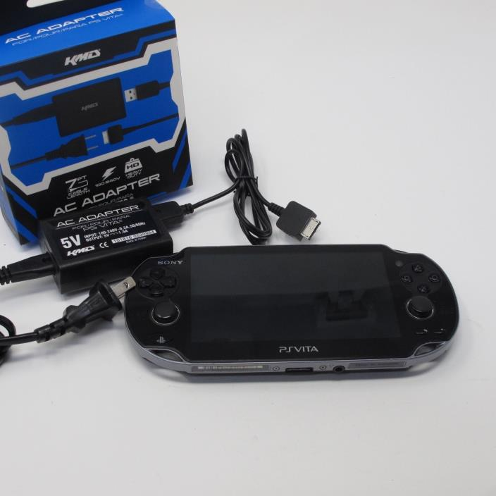 Sony Playstation PS Vita Black Wi-Fi PCH-1001 Handheld Console, Charger, COD