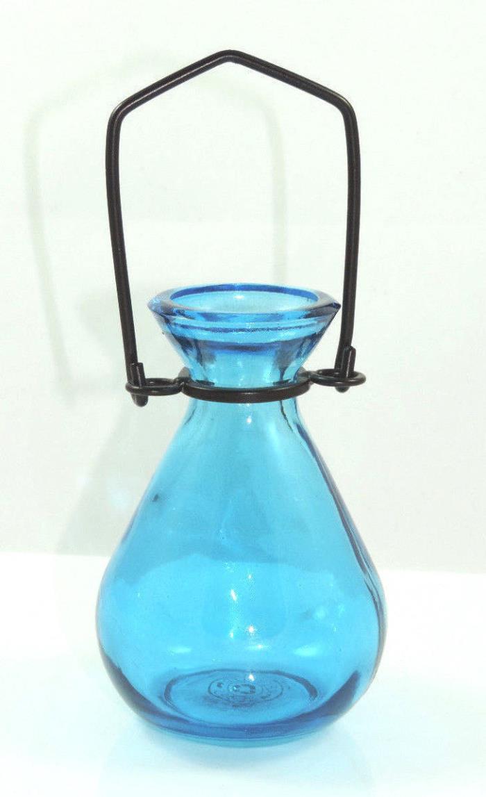 Couronne Glass Teardrop Hanging Rooter Vase Bud Window Vase Aqua Blue