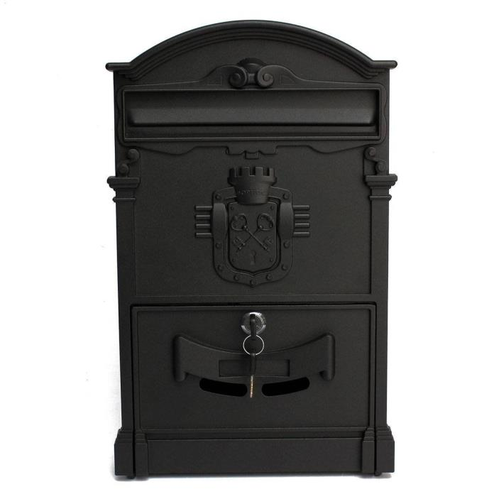 Doitb Mailbox European Style Outside Aluminum Wall Mount Post Box Secure Mailbox
