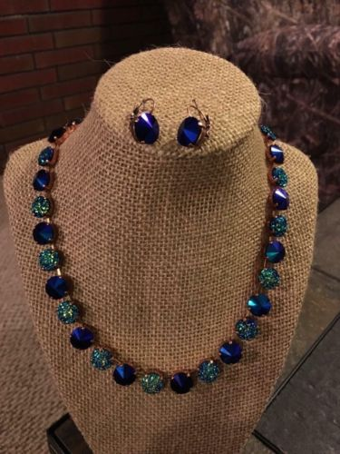 12mm Cup Chain Necklace Set With Matching Earrings Druze & Blue Colors