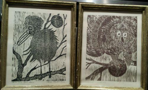 Vintage Pair of Woodblock Prints by artist Paul Beckman Signed