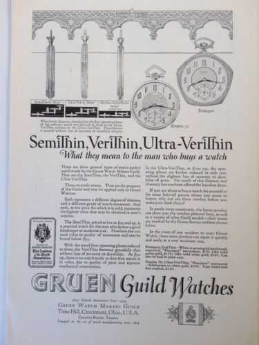VINTAGE ORIGINAL 1927 PRINT AD (A1)~GRUEN GUILD WATCHES