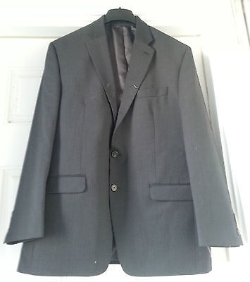 CHAPS Men's Black Dark Blue Striped Sport Coat Jacket Blazer Suit Size 44R