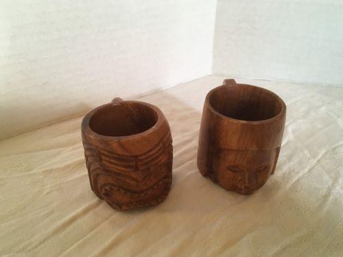 Hand-Carved Hawaiian Wood Tiki Mugs Set of 2 Vintage