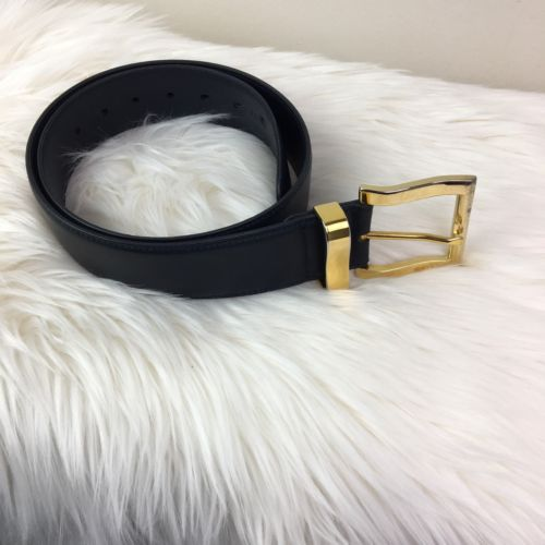 Men's Bally Navy Blue Leather Belt Made in Italy Gold Buckle 34