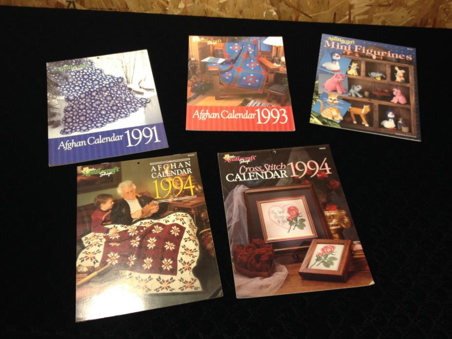 Lot of 5  Afghan Calendar,The Needlecraft Shop crochet patterns 1991-93-94 Plus