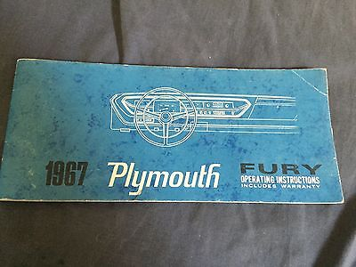 1967 Plymouth Fury Original Factory Owners Manual
