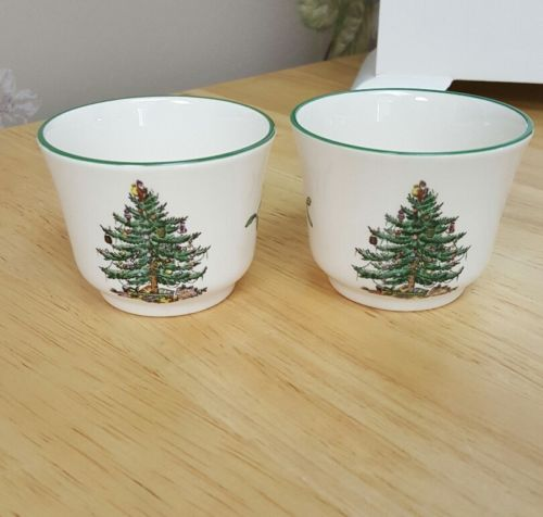 Spode Christmas Tree Set of 2 Votive Cup Candle Holders
