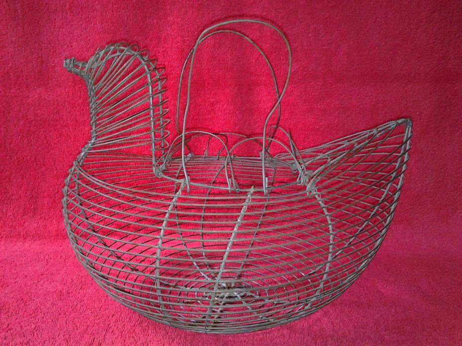 Antique Rustic Metal Wire Chicken Shape Egg Basket