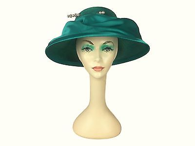 Estate Find! Mr. John Classic Teal Green Satin Tiered Hat Derby