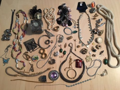 Junk Drawer Lot ~. Vintage Jewelry Necklaces Rings Earrings Cufflinks Bracelets
