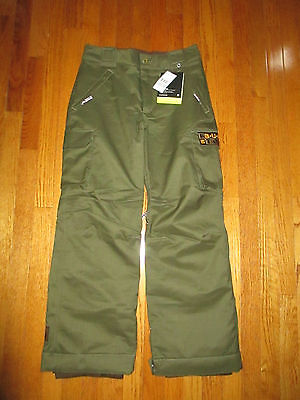 New Burton Boys Size XL Olive Green Exile Cargo Waterproof Snow Ski Board Pants
