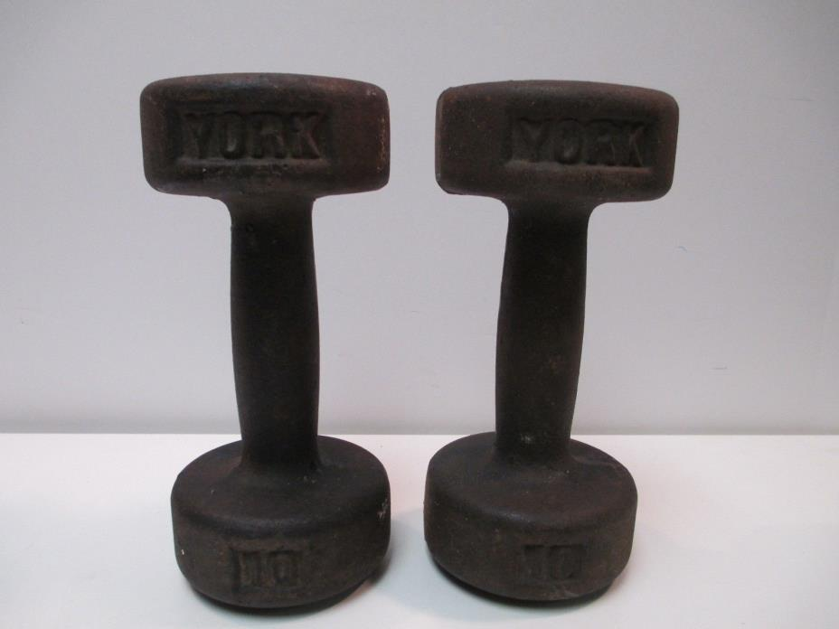 YORK 10 POUND DUMBELLS VINTAGE