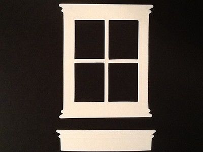 (White) 10 windows & window box die cut. from cardstock. Madison window