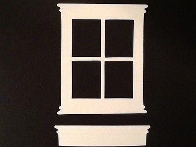 (White) 10 windows & window box die cut. from cardstock. Madison window