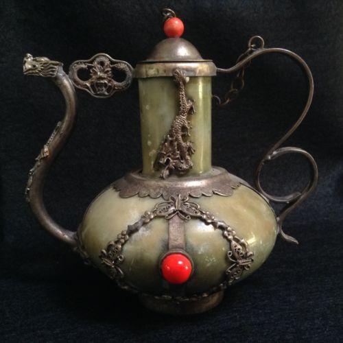 Antique Dragon, Butterfly & Lion Green Jade Ornamental Teapot