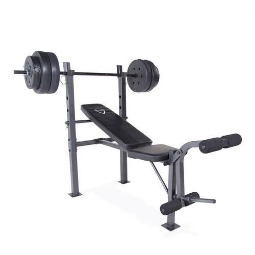 Weight Bench Set Home Gym Workout Barbell 100lb Weights Lifting Exercise Station