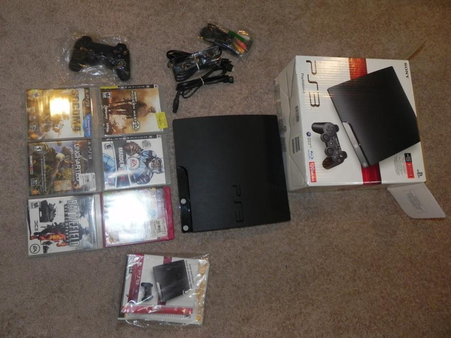 Sony Playstation 3 PS3 Slim CECH-2101a 120gb w/ 6 games - VG - used - LQQK