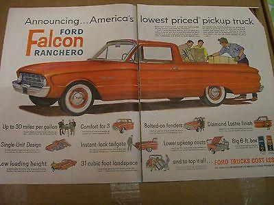 Original 1960 Ford Falcon Ranchero Two-Page Magazine Ad