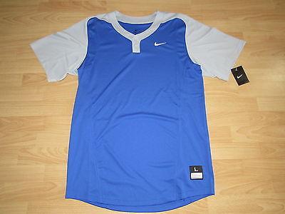Nike Baseball Jersey Two Button Blank Dri-Fit Men's Large - Royal Blue/Grey
