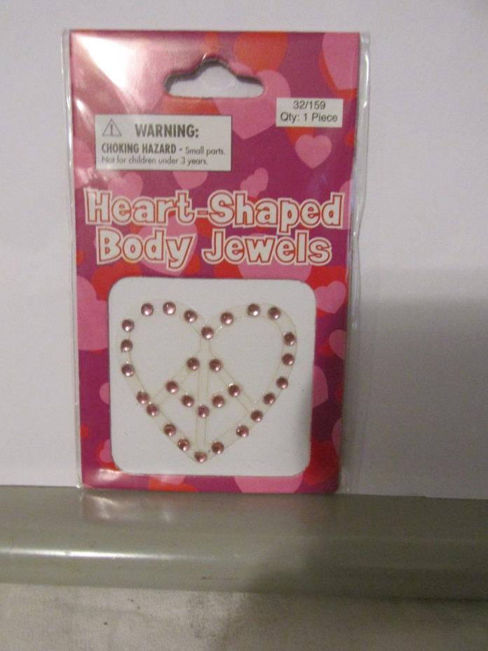 Heart Shaped Body Jewels pink color heart with smile