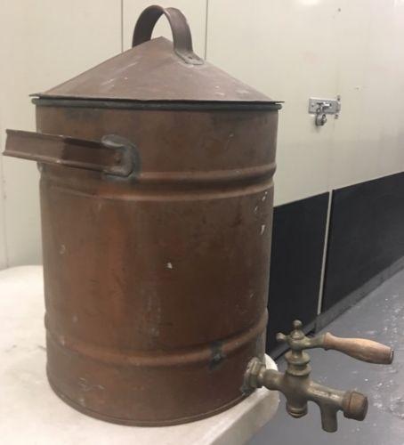Vintage 3 Gallon Copper Tin Lining Cooler w/ Spigot Still Or Apple Cider Cooler
