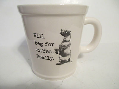 Magenta M Exclusive Large Coffee Cup Mug Dog Logo Will Beg For Coffee Really EUC