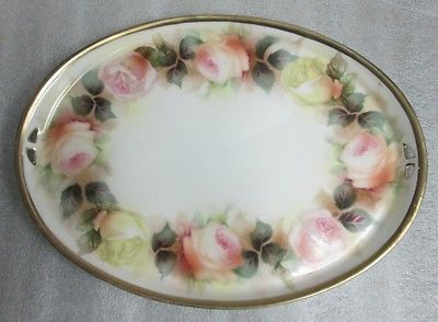 RS PRUSSIA VANITY HOME DECOR DRESSER TRAY PINK YELLOW GARLAND OF ROSES 11