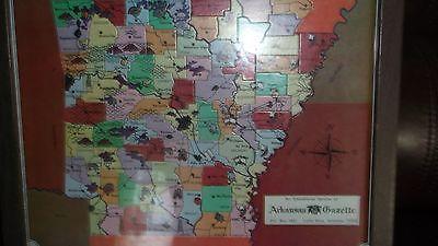 framed arkansas puzzel map