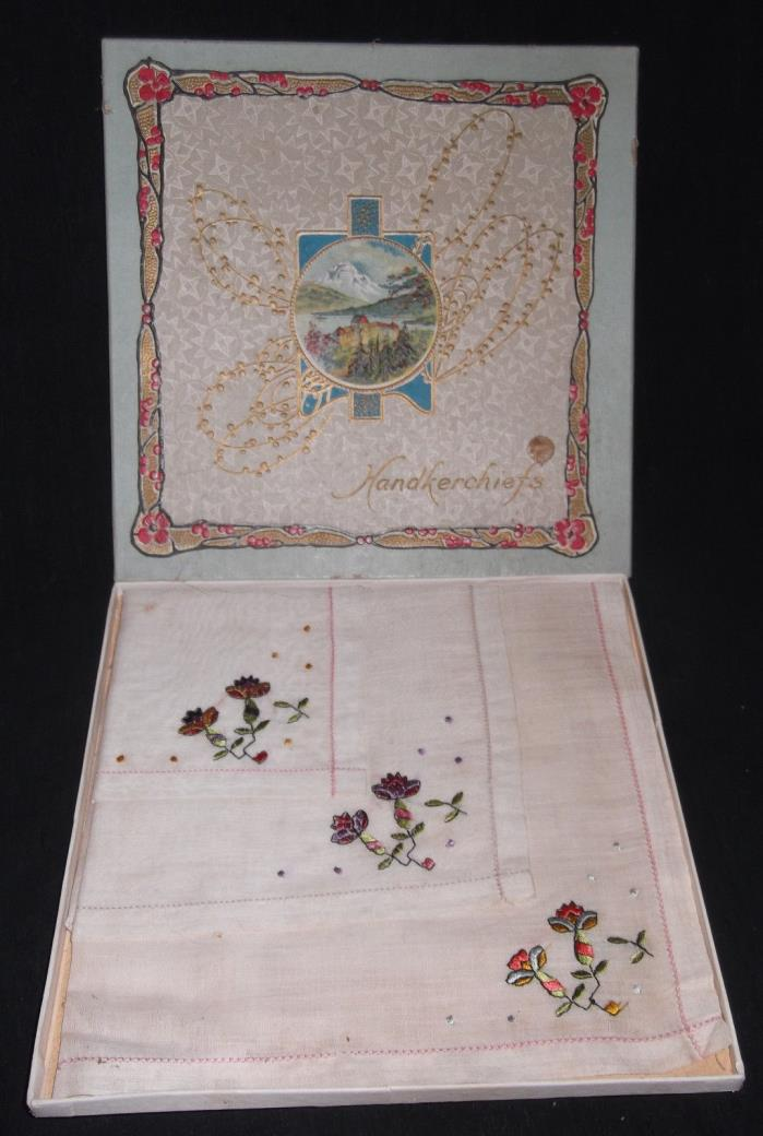 Ladies Embroidered Handkerchiefs UNUSED LOT 3 Flowers Lithograph Box Antique