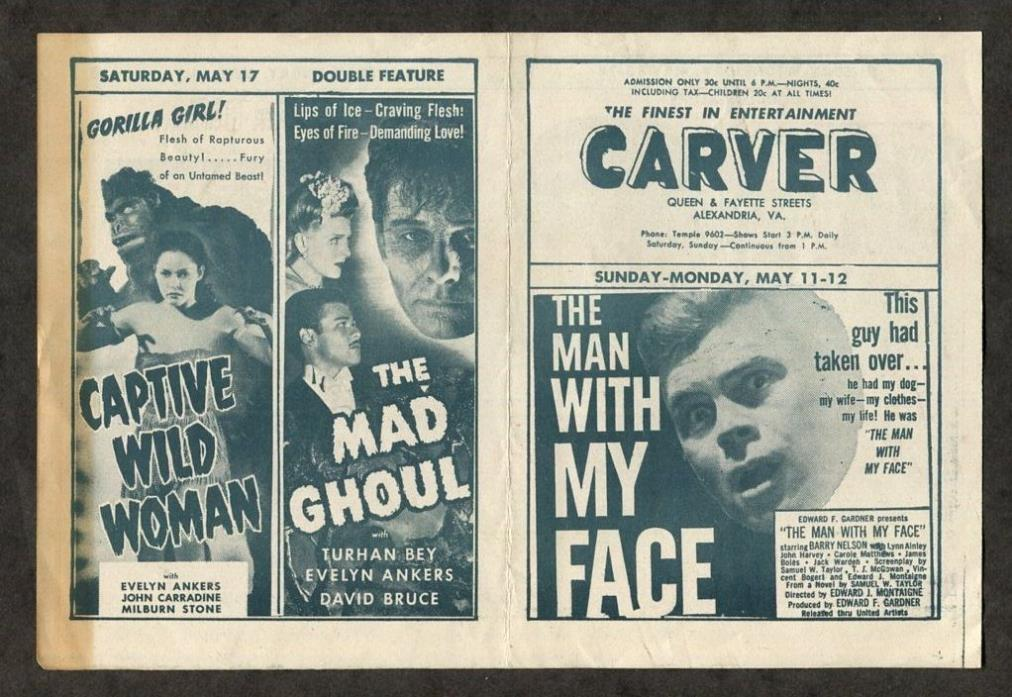 1951 Vintage Movie Pamphlet The Mad Ghoul etc. Science Fiction Horror Films