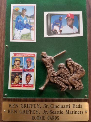Ken Griffey Jr & Ken Griffey Sr Autographed Rookie Cards Plaque