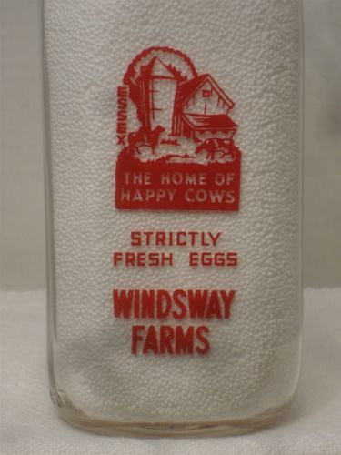 SSPQ Milk Bottle Windsway Farms Dairy Essex CT HOME OF HAPPY COWS & FRESH EGGS