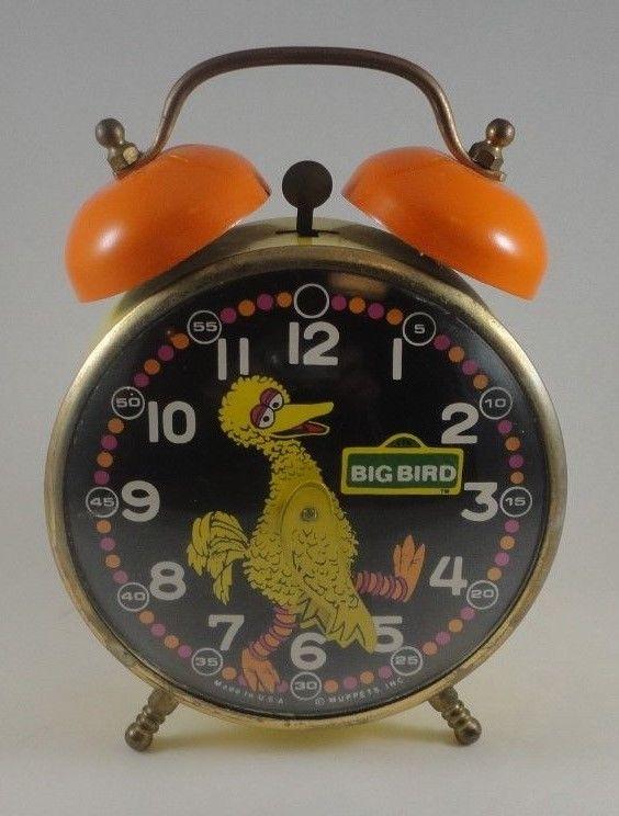 Vintage 1970's Lux Sesame Street Big Bird Wind Up Twin Bell Alarm Clock