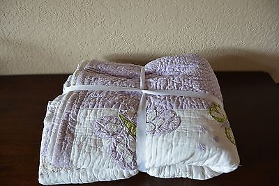 POTTERY BARN KIDS CAMILLE FULL QUEEN QUILT SHAM APPLIQUÉ BUTTERFLY PURPLE SWEET